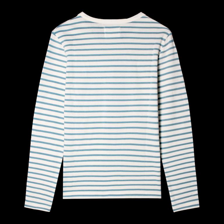 4e25c71fa7d Wood Wood Moa T-shirt L/Æ - Dame - Hvid Lyseblå - 10931500-2